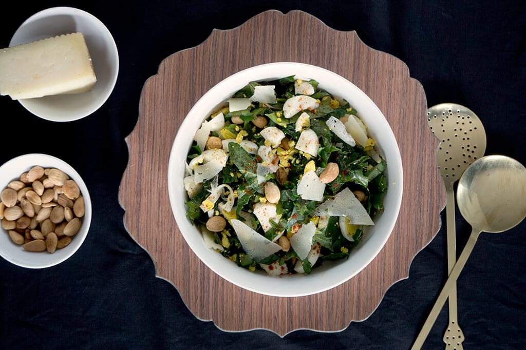 Kale Salad with Manchego and Salty Marcona Almonds - overhead