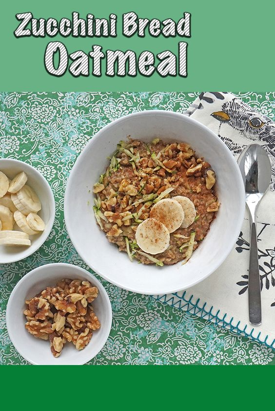 Adding shredded zucchini to your breakfast is an easy way to bring some fresh vegetables into your morning routine. This Zucchini Bread Oatmeal will have you eating all those garden zucchini every day! | #BREAKFAST | #OATMEAL | #ZUCCHINI| #Recipes at OatandSesame.com