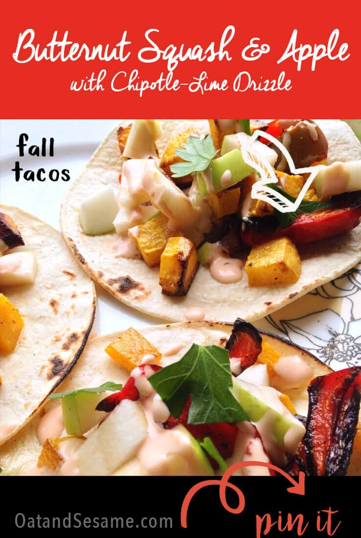TACOS!!! These vegetarian tacos are stuffed with apples, butternut squash, peppers and all the fixin's for a superb taco night!| #TACOTUESDAY | #VEGETARIAN | #VEGAN | #MEXICAN | #Recipes at OatandSesame.com