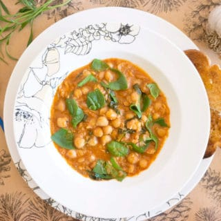Spanish Style Chickpea Spinach Stew