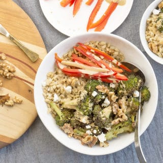 Roasted Broccoli Barley Bowls + Creamy Tahini Dressing