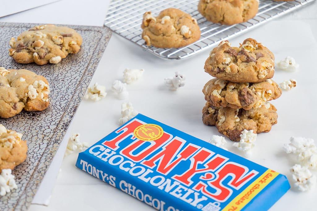 Popcorn Chocolate Chunk Cookies with Tony's Chocolate Bar