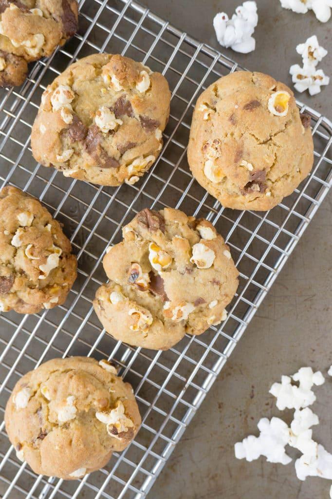 Popcorn Chocolate Chunk Cookies on cooling rack