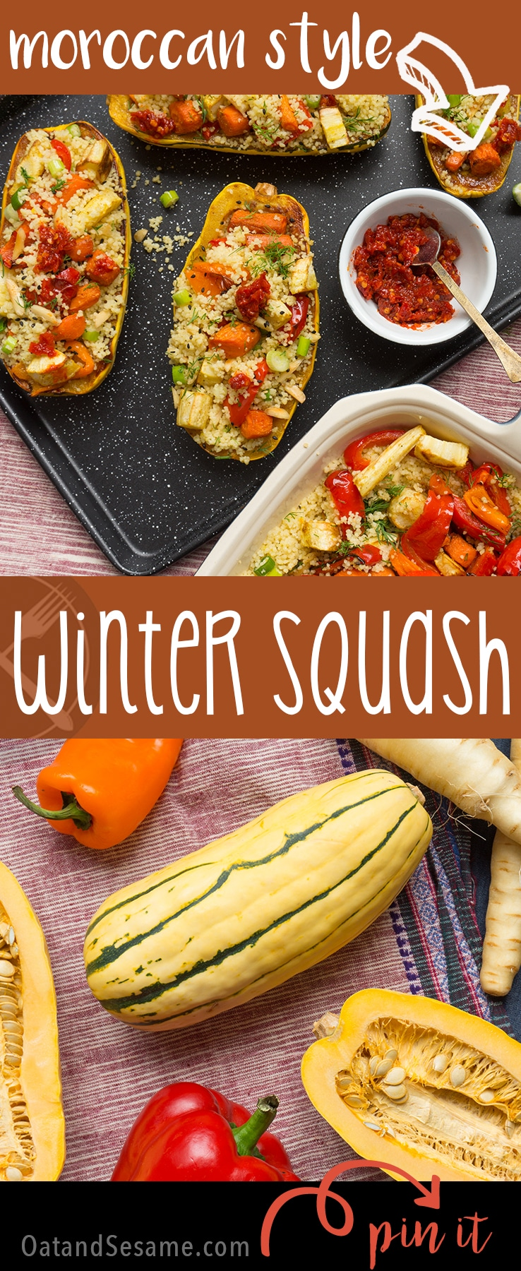 Savory Moroccan spices + Creamy Labneh top this Moroccan Squash with Vegetable Almond Pilaf   #VEGETARIAN   #MOROCCAN   #HARISSA   #Recipes at OatandSesame.com