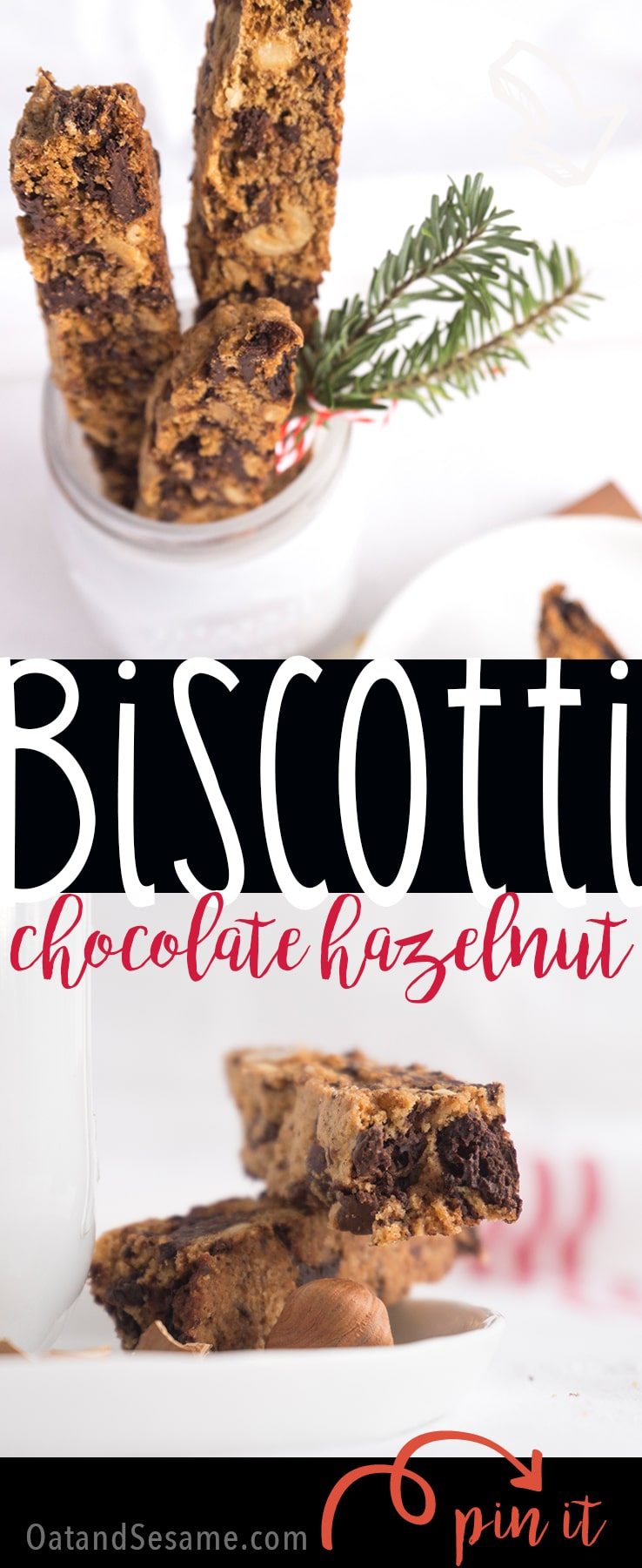 Dark Chocolate Hazelnut Biscotti - the perfect holiday gift. Crunchy and full of chocolate hazelnut goodness. Did I mention they are perfect for dunking in coffee for breakfast!   HOLIDAY BAKING   BISCOTTI   HAZELNUT   COOKIES   Recipe at OatandSesame.com
