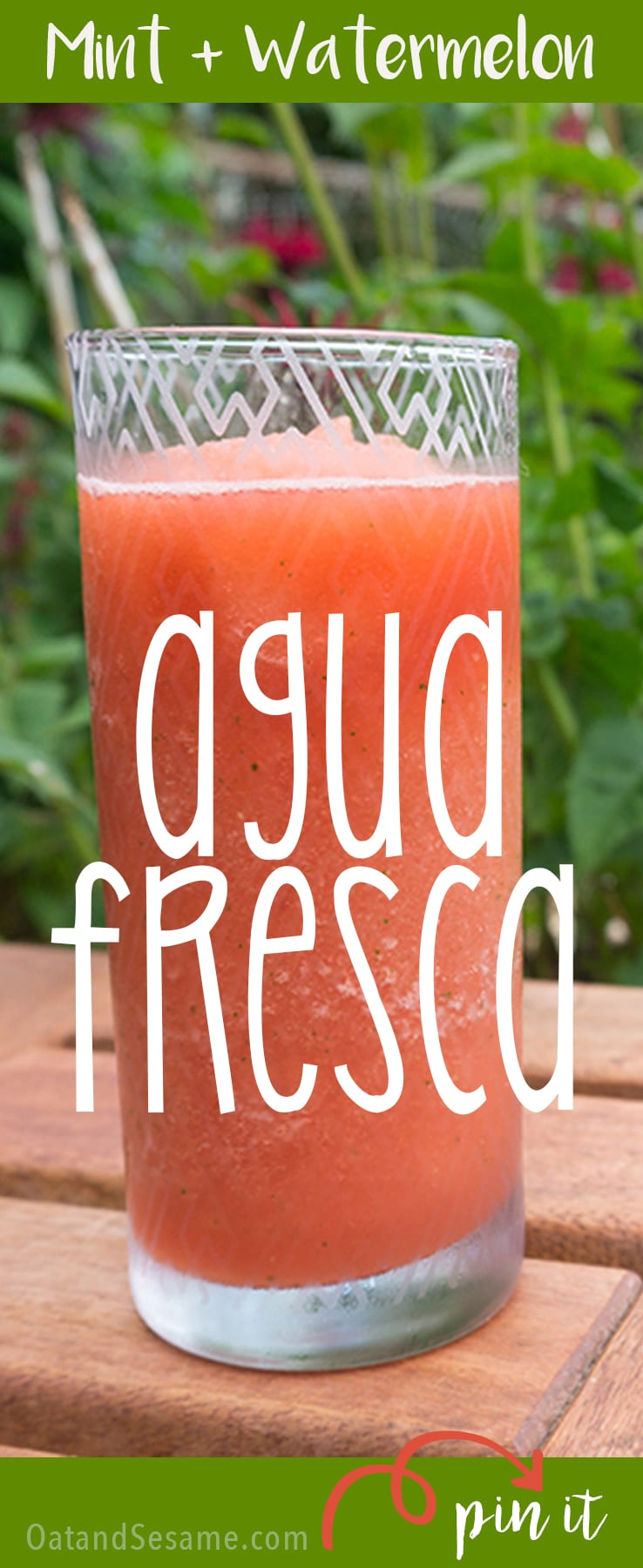 Mint Watermelon Agua Fresca! The BEST Summer Slushie! So refreshing and cold for those hot summer afternoons! | #WATERMELON | #DRINKS | #SUMMER | #SLUSHIE | #Recipes at OatandSesame.com