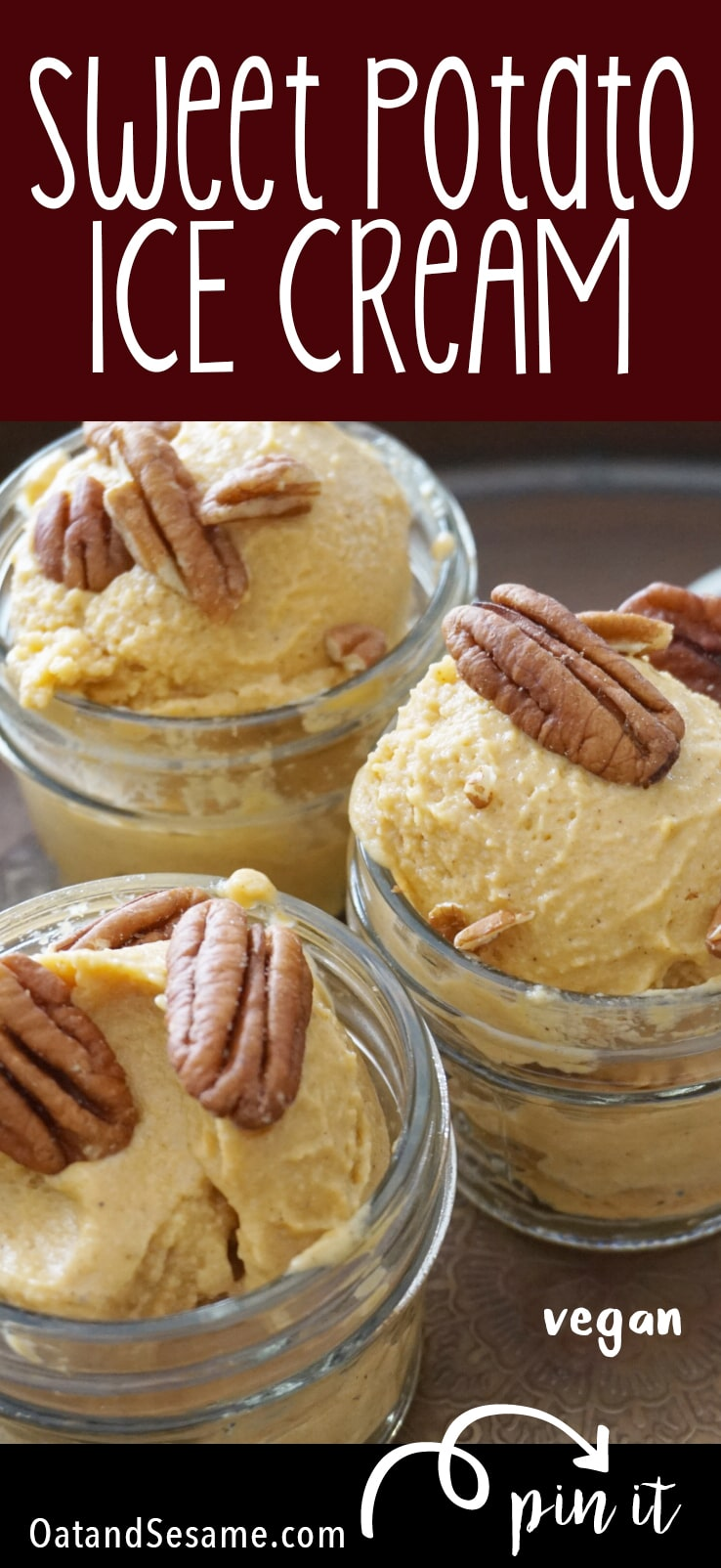 Sweet Potato Ice Cream - it's just like pie and dairy free! Try it with purple sweet potatoes for a purple ice cream! | VEGAN | HEALTHY DESSERTS | Recipe at OatandSesame.com