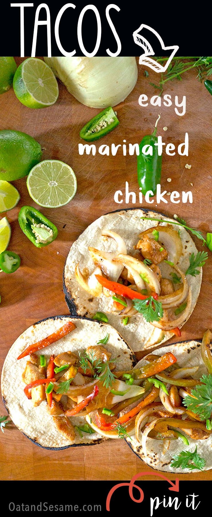 Easy Marinated Chicken Tacos - perfect weeknight meal for #TacoTuesday! | Recipe at OatandSesame.com