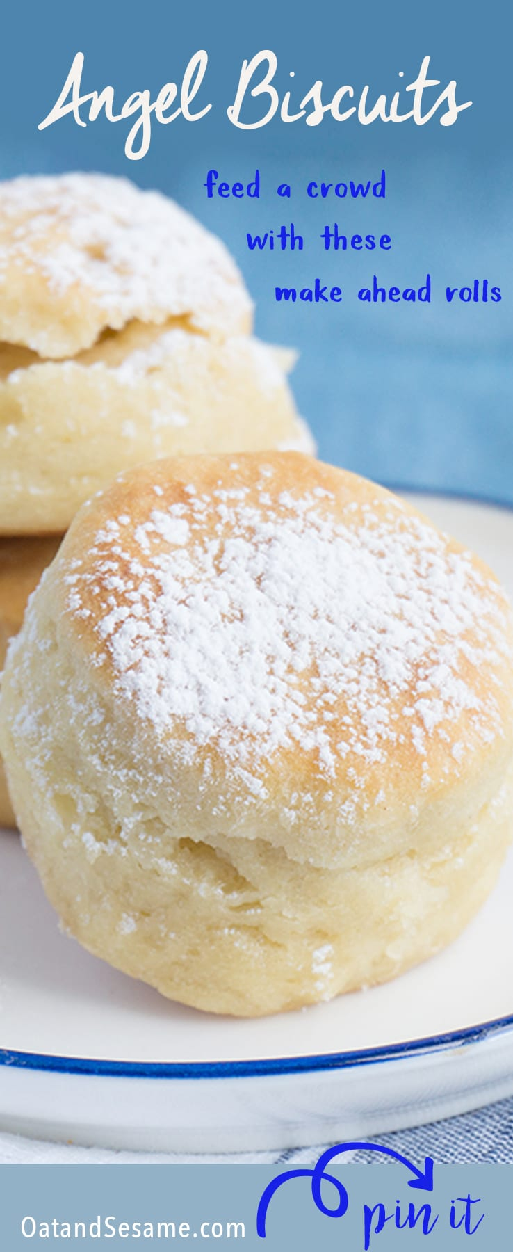 The easiest, fool-proof homemade yeast rolls ever! Make a million little Angel Biscuits and you'll be the hero at any table! | Recipe at OatandSesame.com