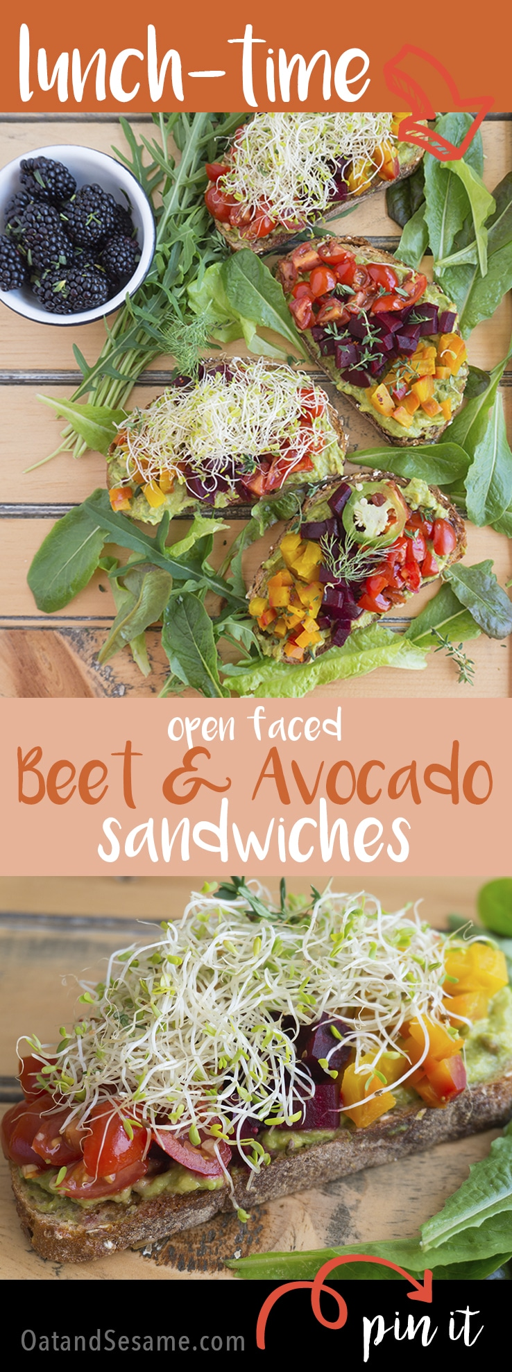 Beet and Avocado Open Faced Sandwiches - colorful and healthy this sandwich will grab your tastebuds and jumpstart your lunchtime routine! | #VEGETARIAN | #VEGAN | #LUNCH | #PLANTBASED | #HEALTHY | #Recipes at OatandSesame.com