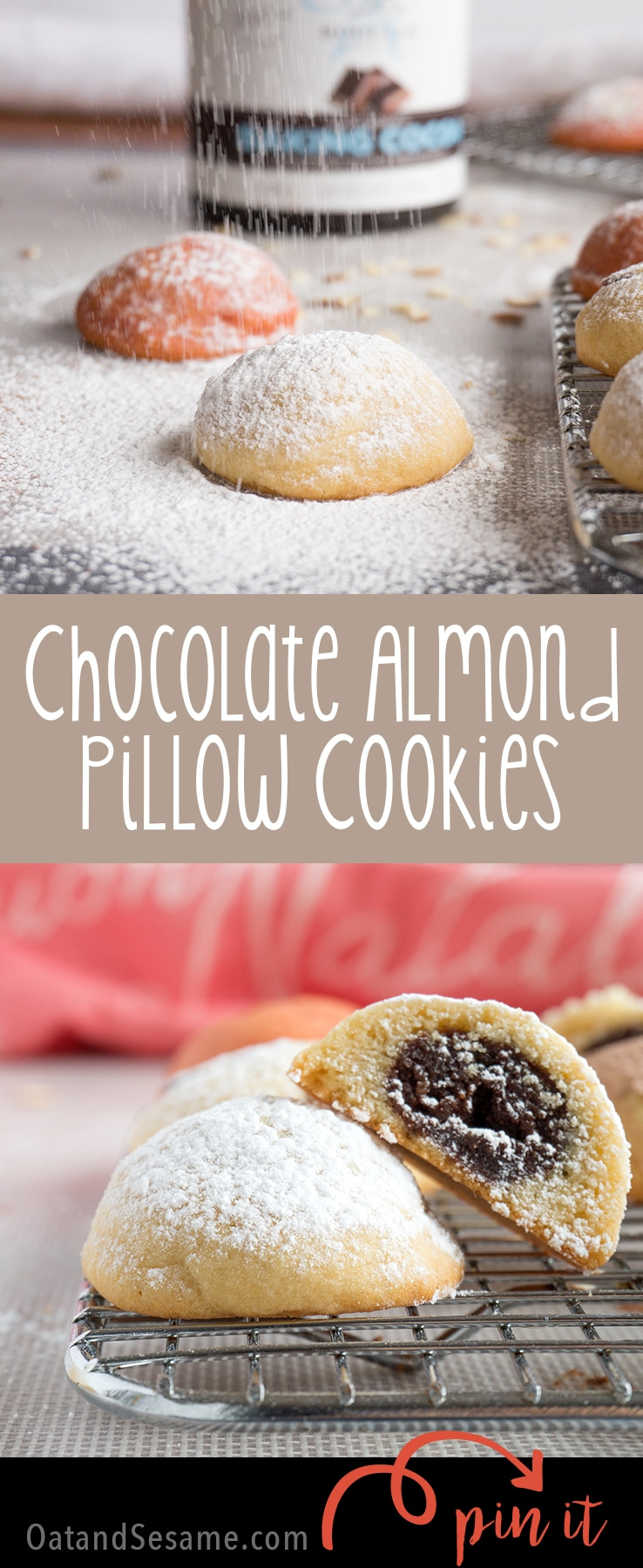 Chocolate Almond Pillow Cookies have a secret to reveal. Inside these puffy little gems is a pocket of chocolate almond delight.   #Christmas   #COOKIES   Holiday Baking   Almond LOVE   #COOKIES   #Recipes at OatandSesame.com