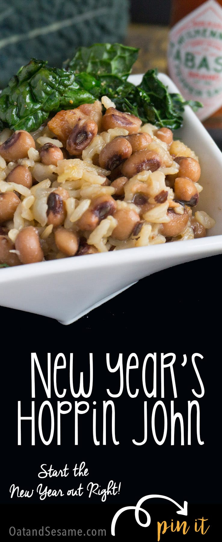 This Traditional New Year's Day Hoppin' John recipe is both delicious and easy to make! Black Eyed Peas, Brown Rice, Bacon and Greens - Start your year off with a bit of Southern luck!   #SOUTHERNRECIPES   #NEWYEARS   #Recipes at OatandSesame.com