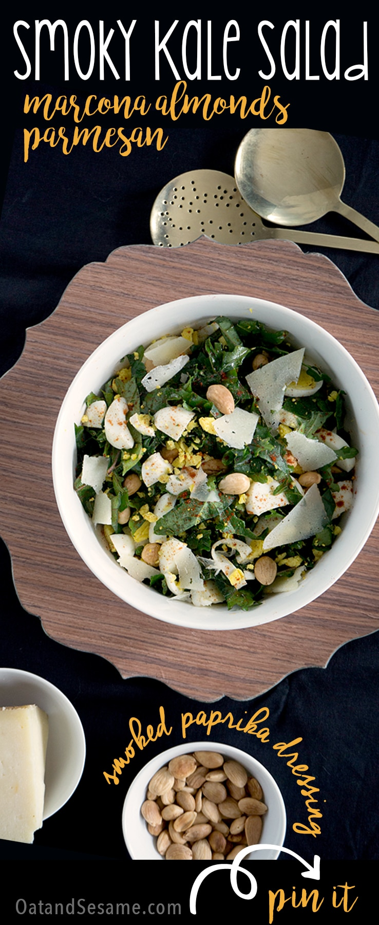 Kale Salad with Manchego and Salty Marcona Almonds tossed with a Smoky Vinaigrette | #KALE | #HEALTHY | #SALAD | #Recipes at OatandSesame.com