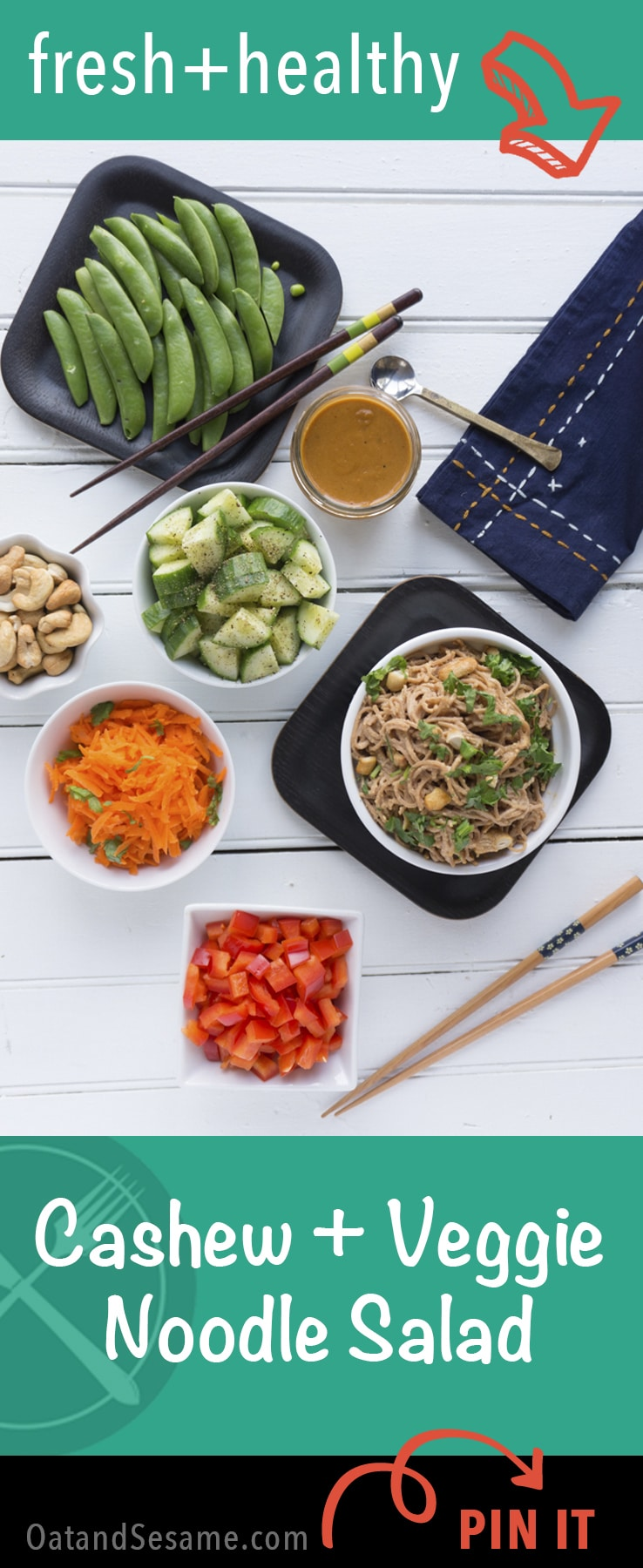 This cold cashew noodle salad is great for #mealprep. Noodles, dressing and a combo of raw veggies of your choice. NOODLES   PLANT BASED   VEGETARIAN   VEGAN   Recipe at OatandSesame.com