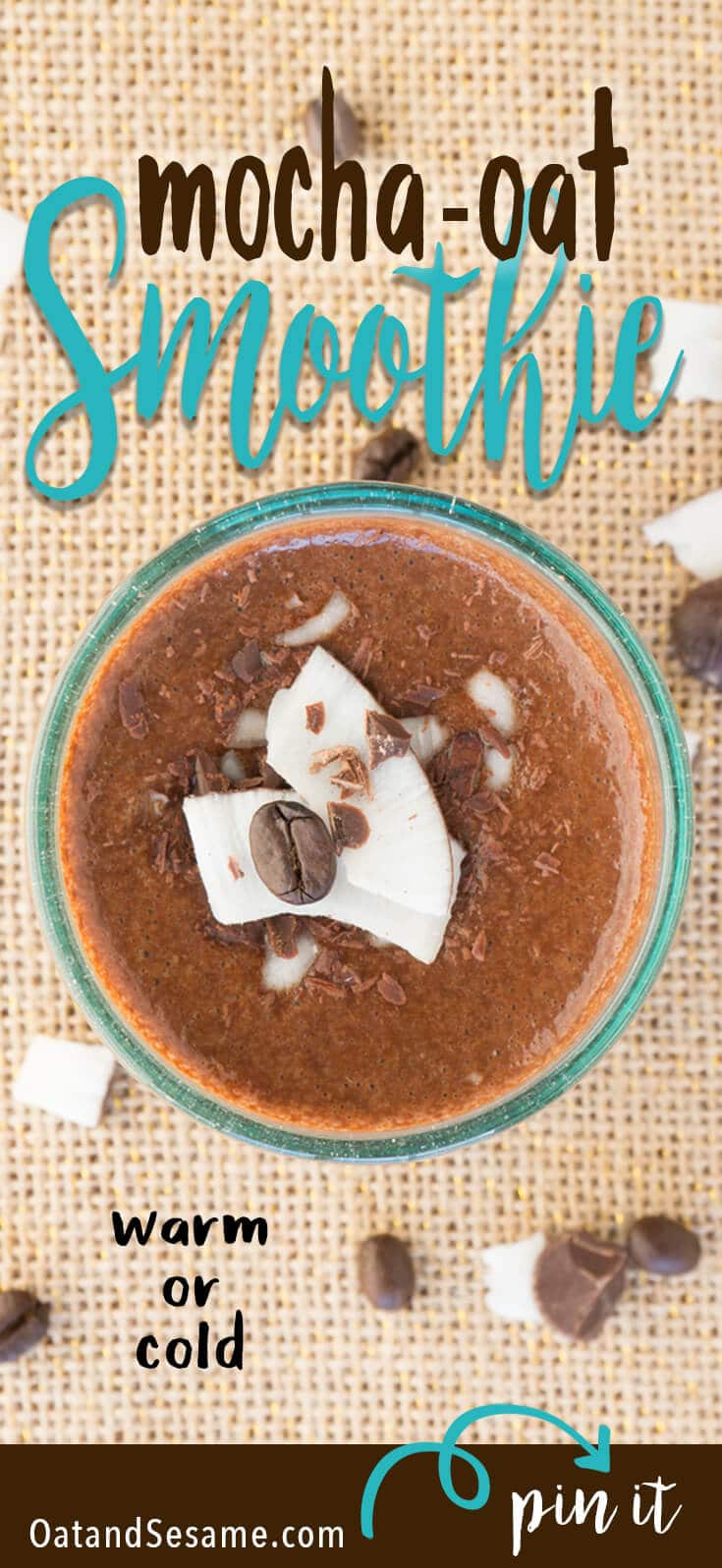 Coffee + Breakfast combined! Make this Creamy Mocha-Oat Smoothie for the best of a chocolate mocha plus your morning oats in one! Drink it warm or cold! | BREAKFAST | OATS | COFFEE | SMOOTHIE | Recipe at OatandSesame.com