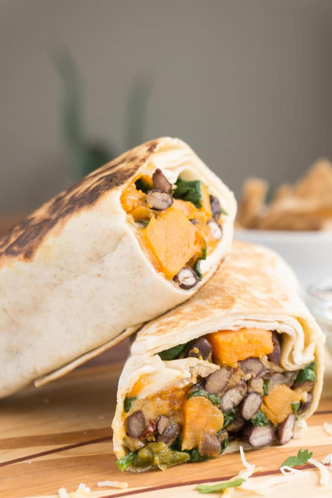 Spinach, Sweet Potato & Black Bean Burritos vertical stacked image