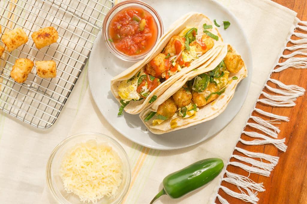 Tater Tot Breakfast Tacos - Oat&Sesame