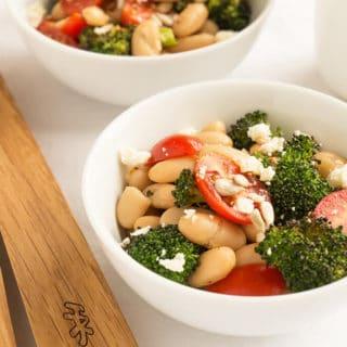 Roasted Broccoli Salad, White Beans & Sesame-Ginger Dressing