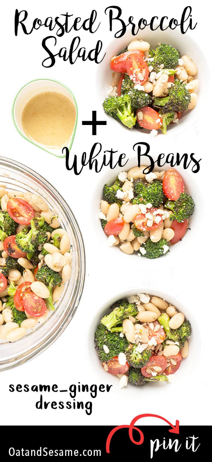 This ROASTED BROCCOLI SALAD is a great side or main dish with cherry tomatoes, white beans, toasted sunflower seeds and a tangy SESAME GINGER DRESSING. Serve it warm or cold - it's delicious either way! LUNCH   SALAD   VEGETARIAN   BROCCOLI   Recipe at OatandSesame.com