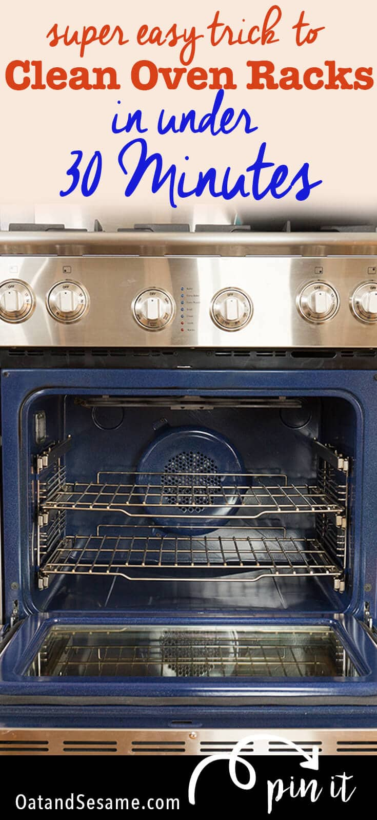 Amazing Kitchen Hack for Cleaning those Tough Oven Racks! No more scrubbing!! Check out this tip at OatandSesame.com