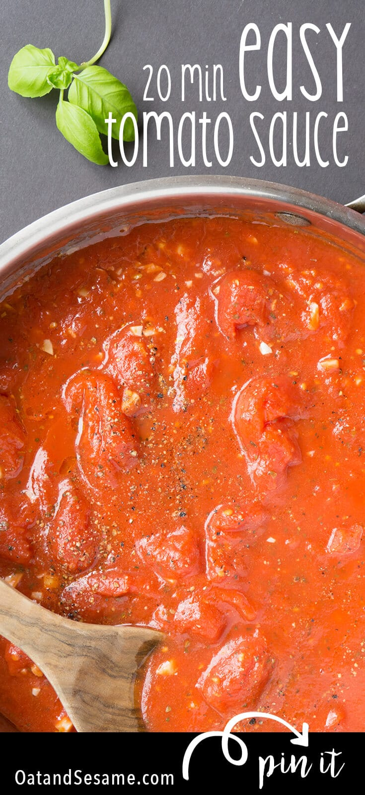 With just a few ingredients you can make a Simple Homemade Tomato Sauce that's WAAY better than any jarred sauce. Done in under 30 minutes, this versatile marinara sauce can be used for pizza sauce, pasta sauce, dipping and spreading! | PASTA | TOMATO | SAUCE | ITALIAN | PIZZA | Recipe at OatandSesame.com