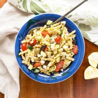 Lemony Greek Pasta Salad with Zucchini + Fresh Herbs