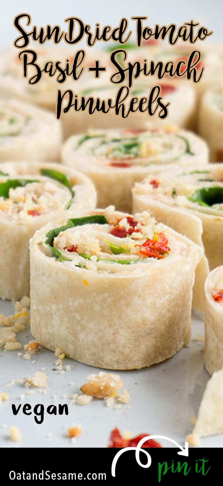 These Sun-Dried Tomato, Basil & Spinach Pinwheels make a perfect party appetizer or light lunch. They take about 15 minutes to make and are a healthy alternative to pinwheels made with cream cheese. | #APPETIZERS| #LUNCH | #VEGETARIAN | #VEGAN | #ROLL UPS | #PINWHEELS | #Recipes at OatandSesame.com