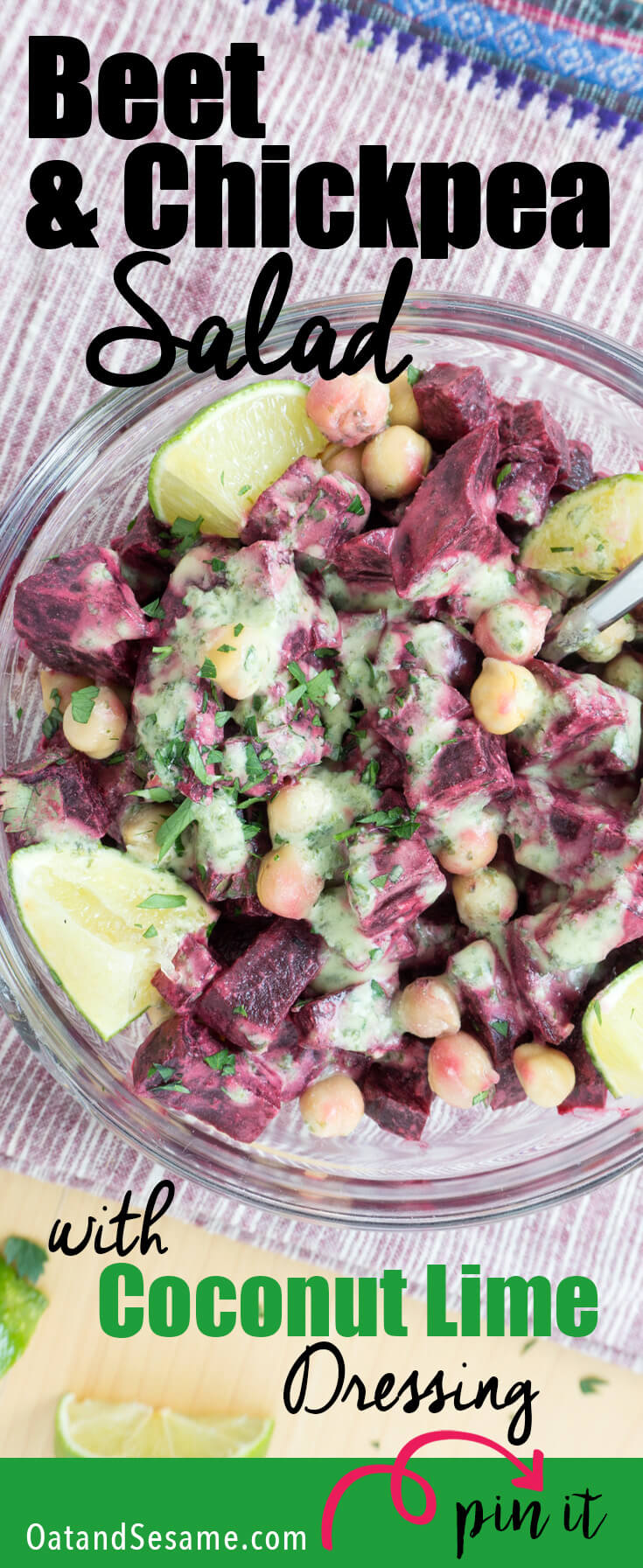 This Beet & Chickpea Salad with Coconut Lime Dressing is packed with tropical flair. Healthy and Easy to Make Ahead! The dressing packs a tangy citrusy punch with lots of yummy cilantro! It's a great dressing for anything you want to give a tropical boost! | BEETS | BEANS | CHICKPEAS | SALAD | VEGETARIAN | VEGAN | HEALTHY | Recipe at OatandSesame.com