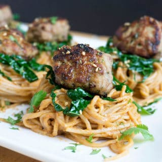 Peanut Noodles with Thai inspired Turkey Meatballs