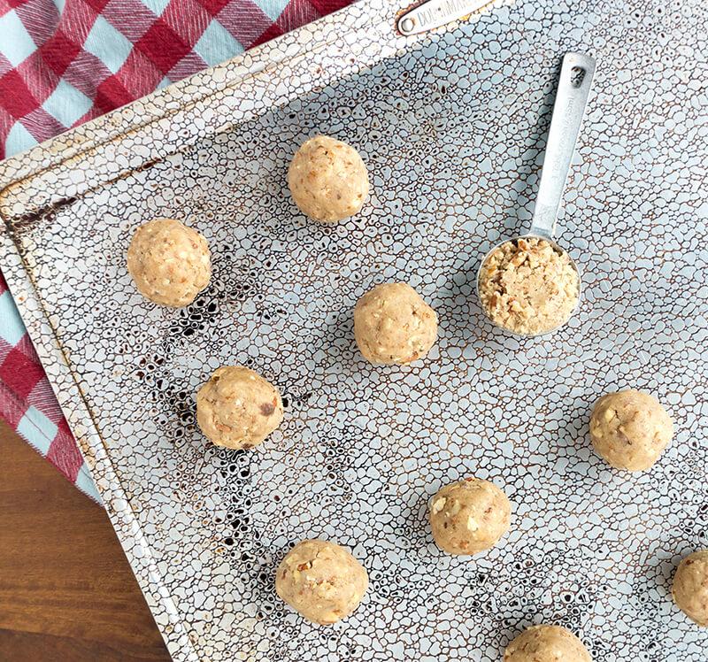 dough balls on cookie sheet