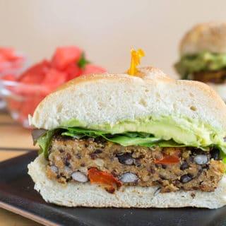 Southwest Black Bean Burgers with Avocado