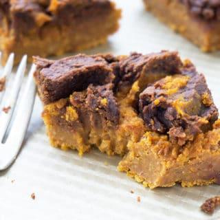 Vegan Pumpkin Pie Bars with Chocolate Peanut Butter Swirl