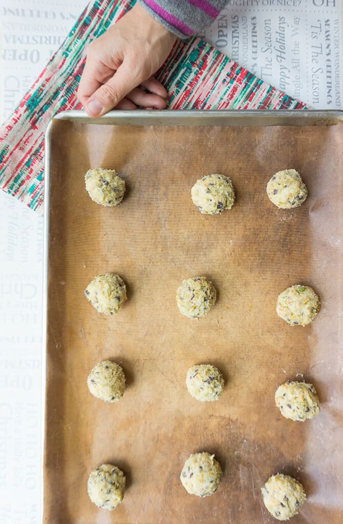 Cannoli Cookie Dough Balls on Cookie Sheet