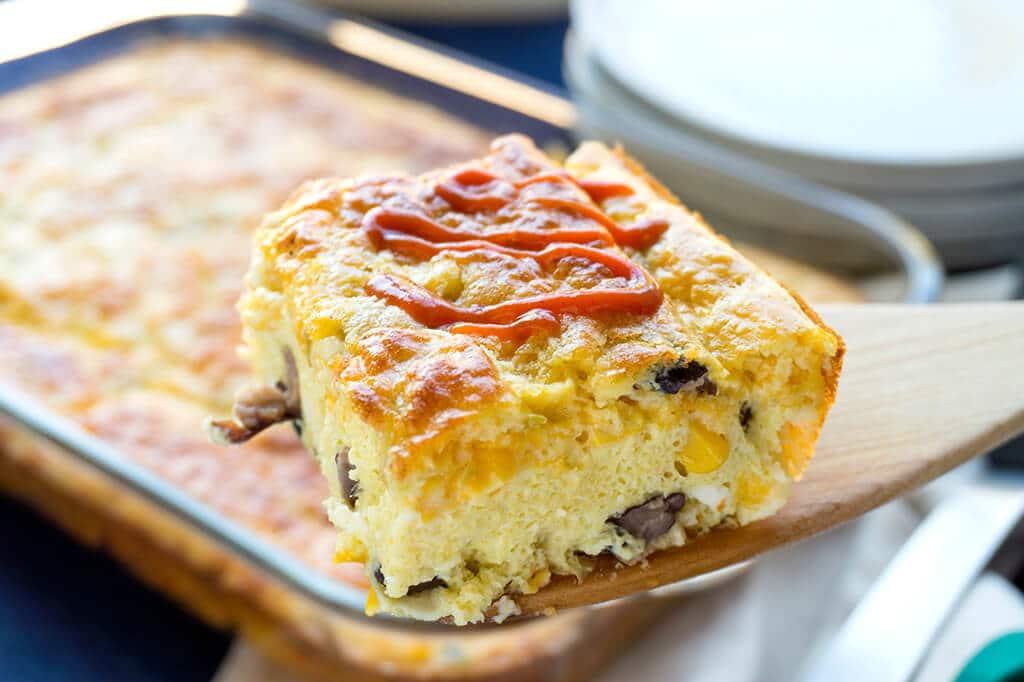 Slice of egg casserole