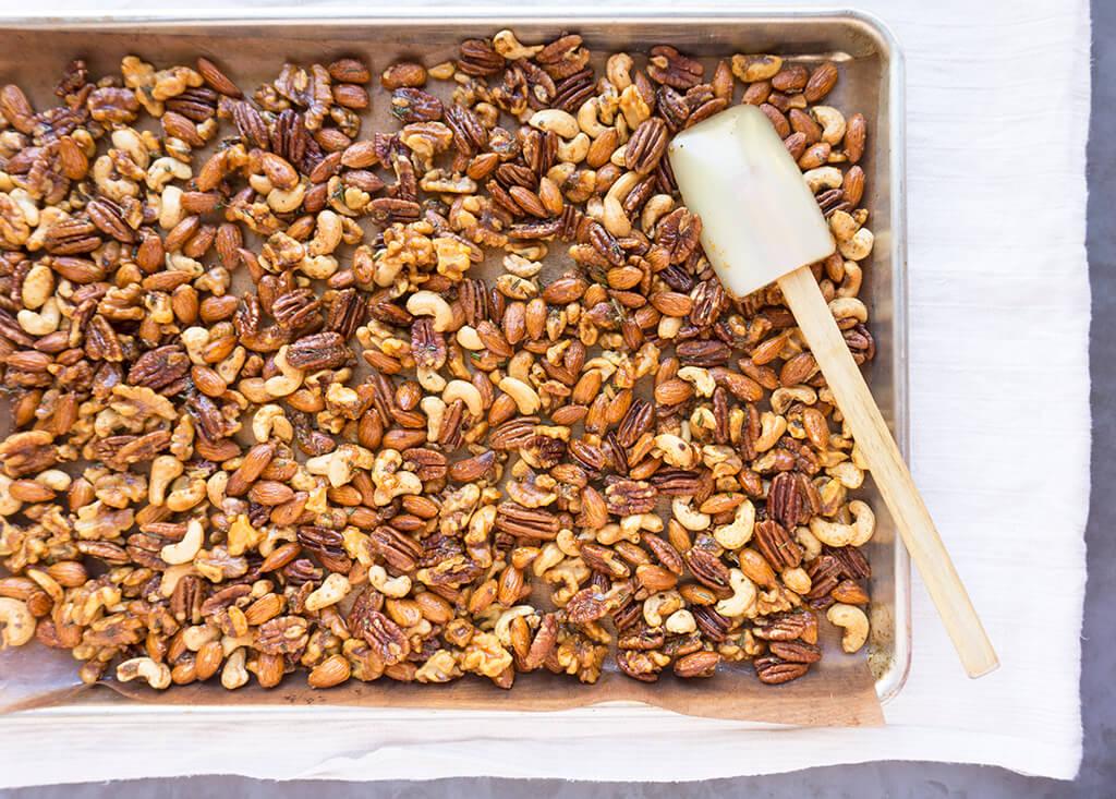 Nuts cooling on sheet pan