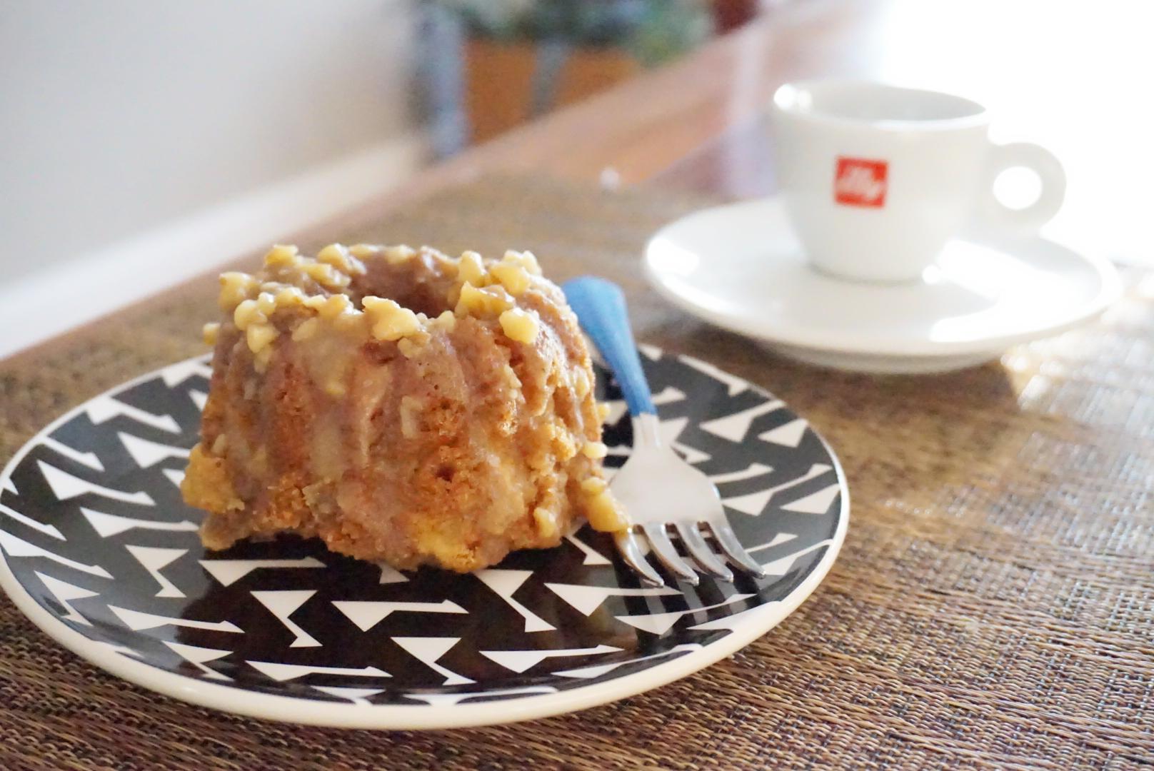 Southern Apple Cake on geometric plate