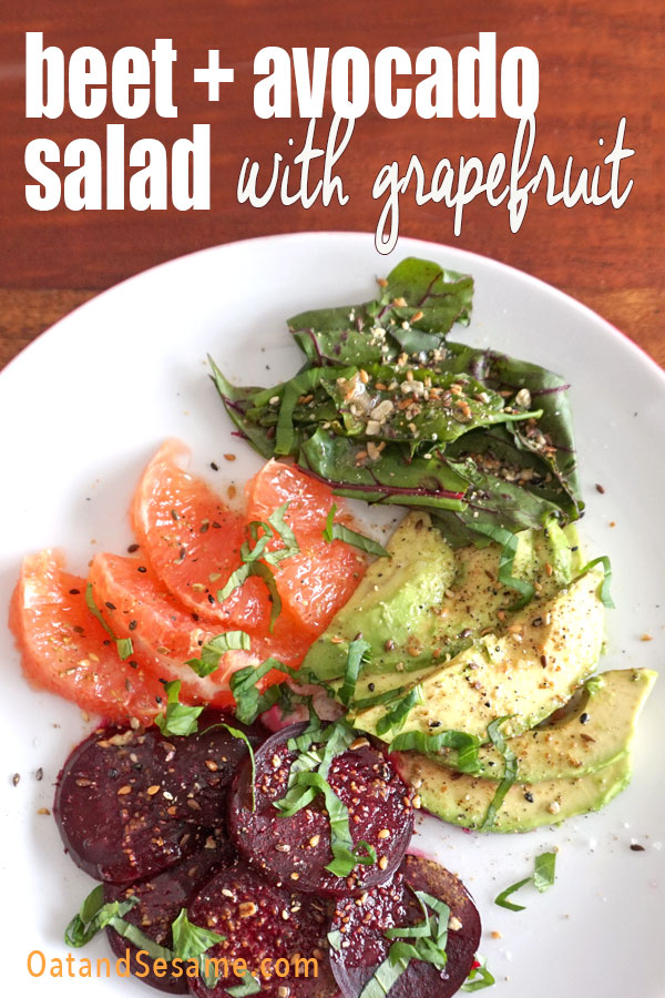 Beet, Avocado and Grapefruit on a plate
