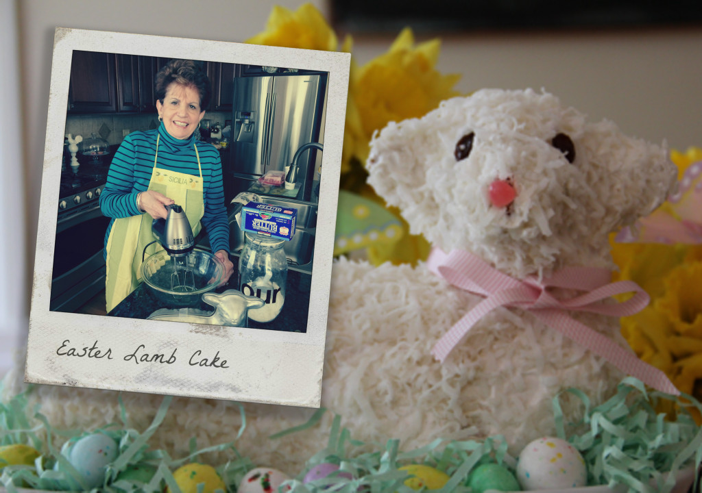 Easter Lamb Cake with pink bow