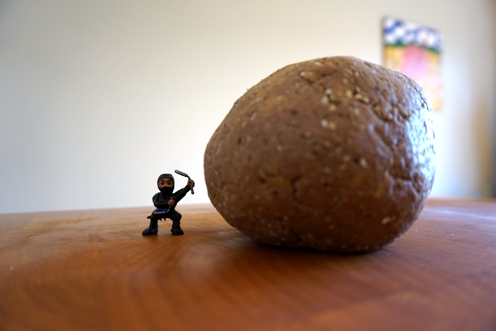 funny photo of energy ball with little ninja figure