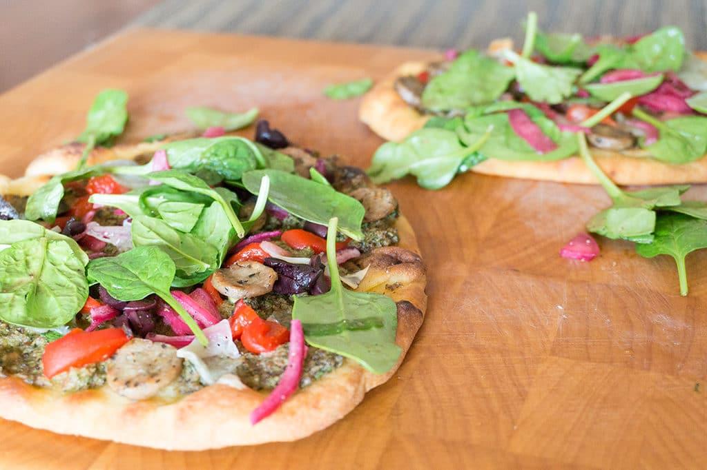 pizza on cutting board