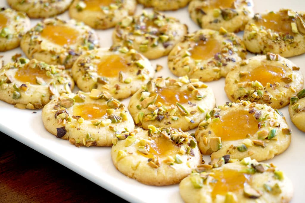Orange Blossom Apricot Pistachio Cookies on plate