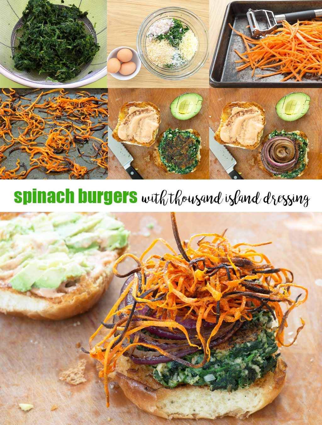 step by step photos for how to make spinach burgers