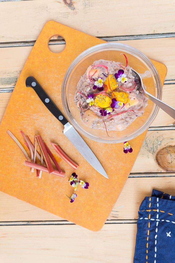 Rhubarb-Mango Oatmeal - overhead