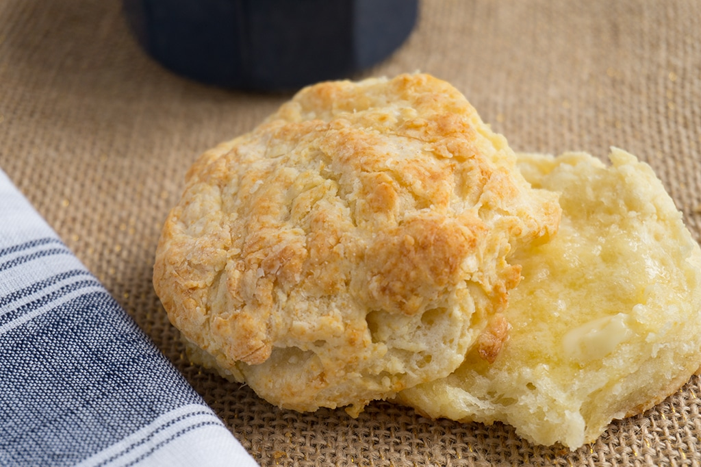 Buttermilk Biscuits sliced with butter