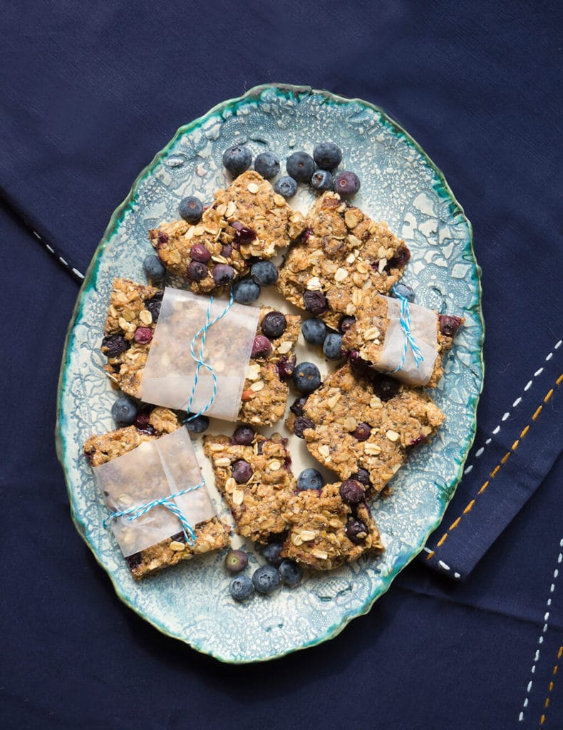 Vegan Blueberry Bars on plate