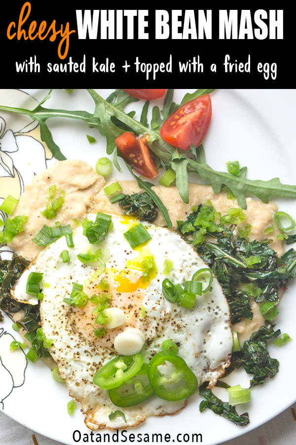 Cannellini Bean Mash with Kale and a fried egg