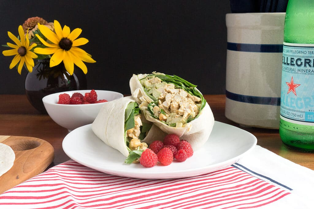 Curried Chicken Salad Wrap on plate