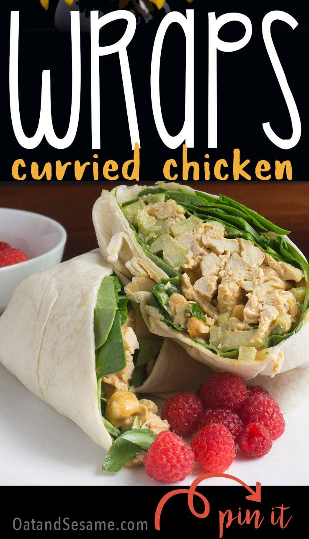 Chicken Salad Wrap with raspberries