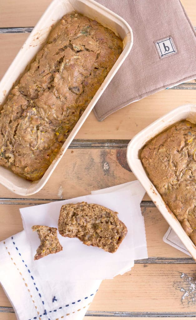 Whole Wheat Zucchini Walnut Bread overhead