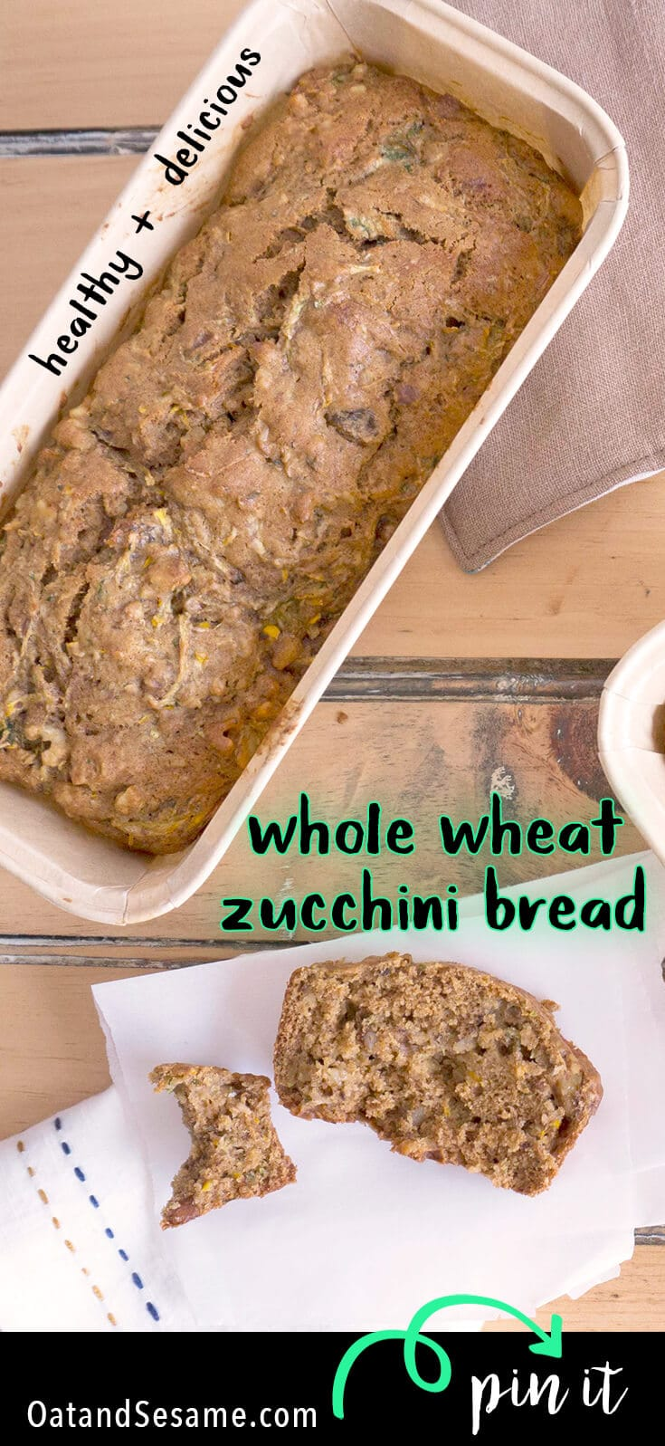 When Zucchini Season is at its high, you'll need to start making zucchini bread! This Whole Wheat Zucchini Walnut Bread is delicious and healthy. It also works great as the base for Zucchini Bread French toast! | #BREAD | #ZUCCHINI | #WHOLEGRAIN | #Recipes at OatandSesame.com